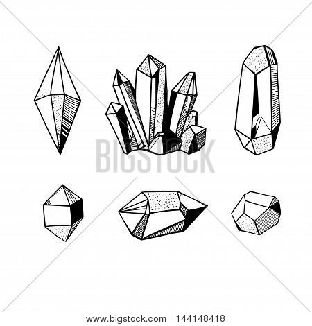 hand drawn crystals set, black and white vector illustration with crystals and gems and minerals