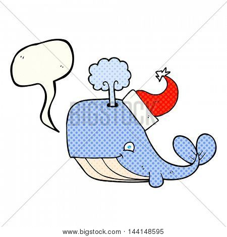 freehand drawn comic book speech bubble cartoon whale wearing christmas hat