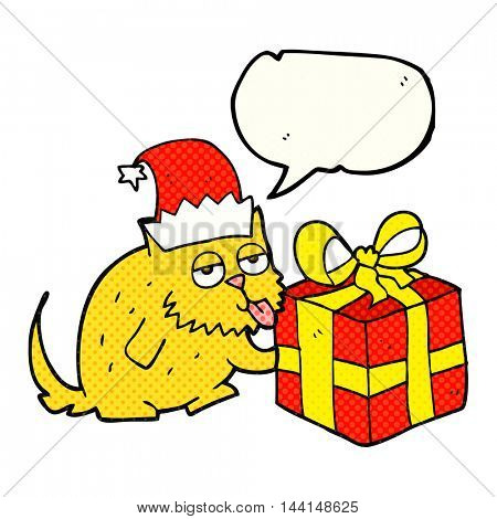 freehand drawn comic book speech bubble cartoon cat with present