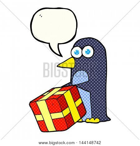 freehand drawn comic book speech bubble cartoon penguin with christmas present