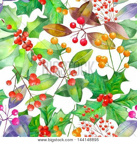 Seamless Christmas pattern with branches with the red and orange berries, mistletoe, holly and green leaves painted in watercolor on a white background
