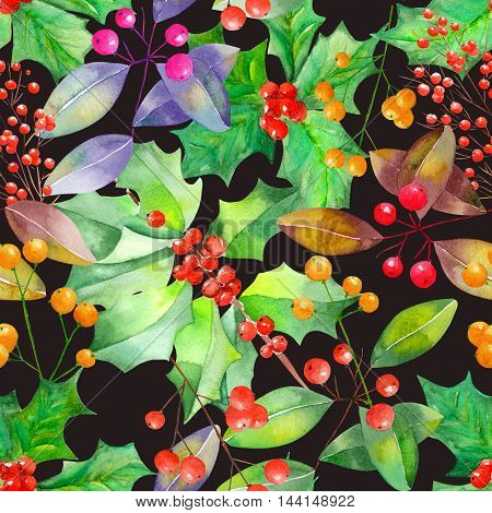 Seamless pattern with branches with the red and orange berries, mistletoe, holly and green leaves painted in watercolor on a black background