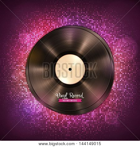 Realistic long-playing LP vinyl record. Vintage vinyl gramophone record, dark backdrop with disco lights. Disco, party, club, dance, music poster. Illustration for banner, flyer, billboard concerts