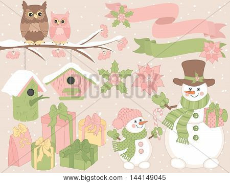 Vector Christmas set with snowmen, owls, gift boxes, and ribbons
