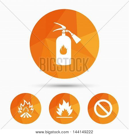 Fire flame icons. Fire extinguisher sign. Prohibition stop symbol. Triangular low poly buttons with shadow. Vector