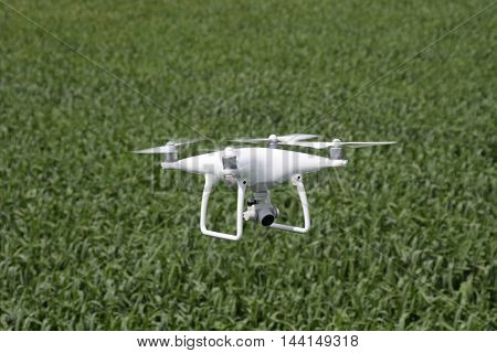 Flying White Quadrocopters Over A Field Of Wheat