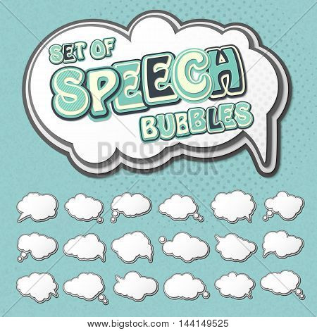 Collection of templates speech bubbles in pop art style. Elements of design comic books. Set of multilayer thought or communication bubbles. White 3d stickers. Vector illustration
