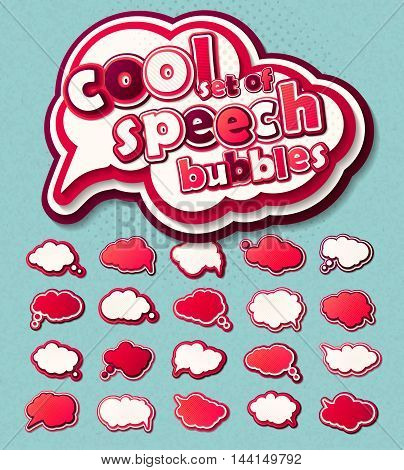 Collection of templates colorful speech bubbles in pop art style. Elements of design comic books. Set of multilayer thought or communication bubbles. Colored 3d stickers. Vector illustration