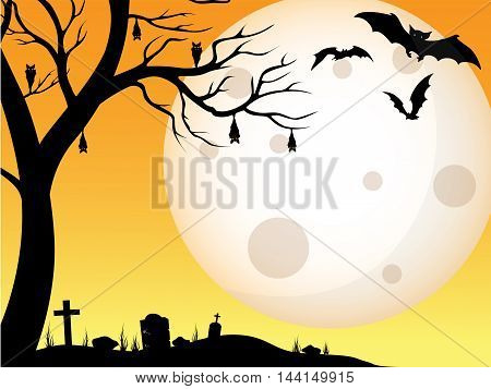 Halloween tomb scary backgrounds with tombstone, bat, and moon at the night afternoon vector illustration