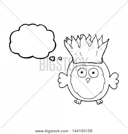 freehand drawn thought bubble cartoon owl wearing paper crown christmas hat