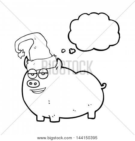 freehand drawn thought bubble cartoon christmas pig