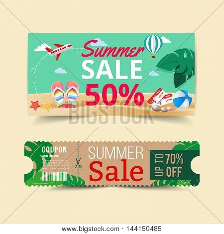 Tag price offer and promotion summer sale.vector illustration