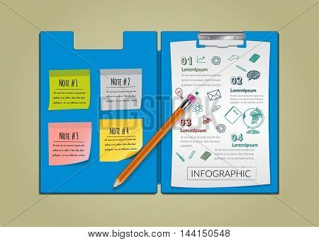 Creative report on notepaper infographic with pencil.vector illustration education concept design.