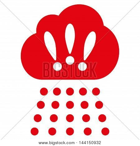 Storm Cloud icon. Vector style is flat iconic symbol, red color, white background.