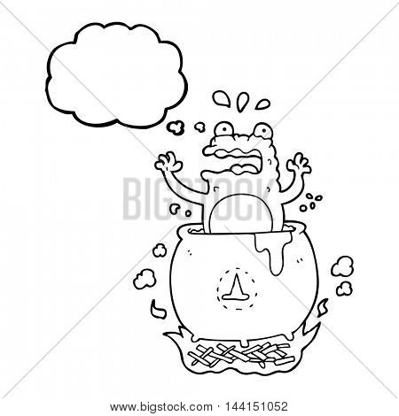 freehand drawn thought bubble cartoon funny halloween toad