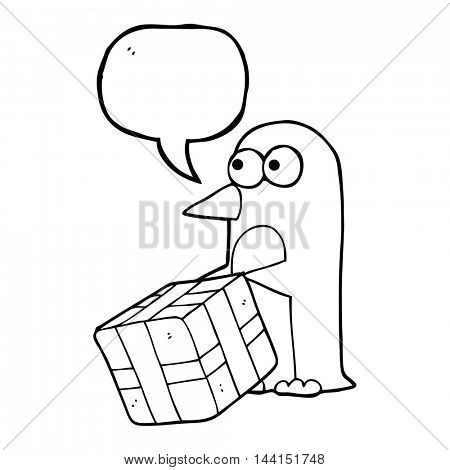 freehand drawn speech bubble cartoon penguin with christmas present