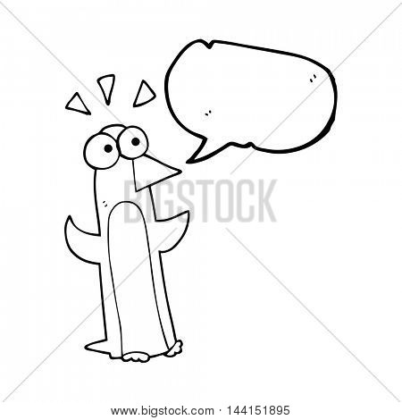 freehand drawn speech bubble cartoon surprised penguin