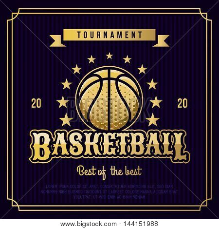 Basketball badge logo emblem tournament in vintage retro style template.