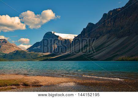 Blue glacier water lake mountains snow landscape