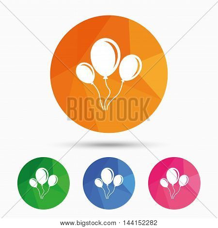 Balloon sign icon. Birthday air balloon with rope or ribbon symbol. Triangular low poly button with flat icon. Vector