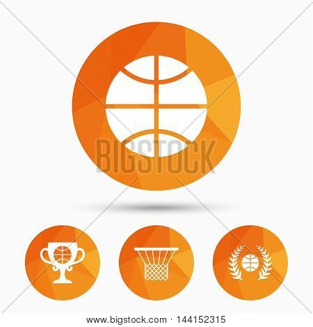 Basketball sport icons. Ball with basket and award cup signs. Laurel wreath symbol. Triangular low poly buttons with shadow. Vector