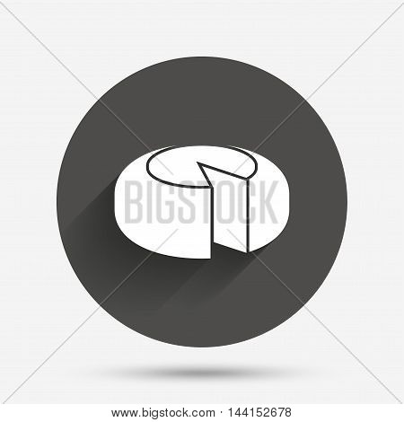 Cheese wheel sign icon. Sliced cheese symbol. Round cheese. Circle flat button with shadow. Vector