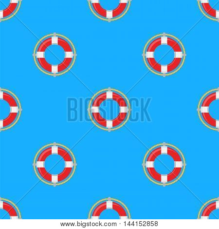 Lifebuoy Icon Nautical Pattern on Blue. Lifequard Symmetric Background