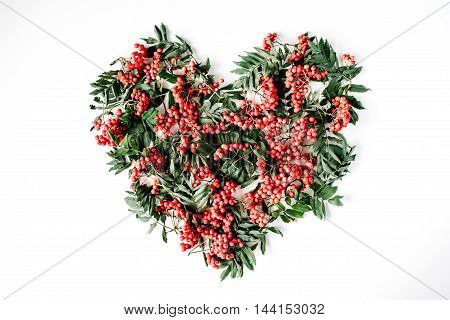 Heart symbol made of rowan on white background. flat lay top view. autumn wallpaper