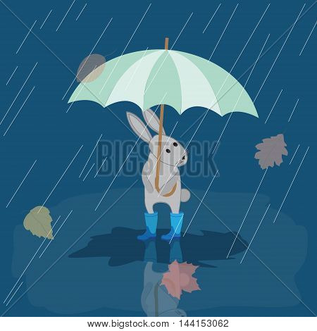 Card Bunny in rubber boots in the rain with umbrella autumn picture vector illustration
