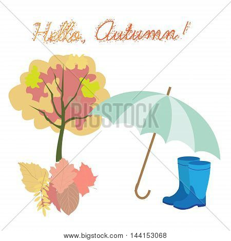 Vector set of different colorful autumn elements. Childish Doodle style.
