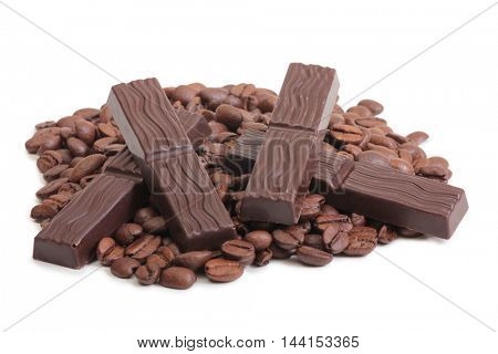 Coffee beans and chocolate cut