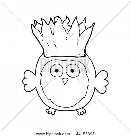freehand drawn black and white cartoon owl wearing paper crown christmas hat
