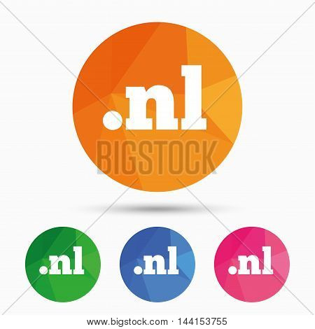 Domain NL sign icon. Top-level internet domain symbol. Triangular low poly button with flat icon. Vector