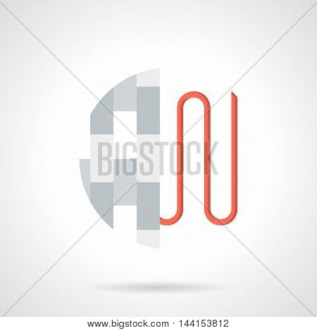 Abstract sign with section of heated floor with levels - red wire or pipeline and gray parquet or laminate. Underfloor heating installing services. Single flat color design vector icon