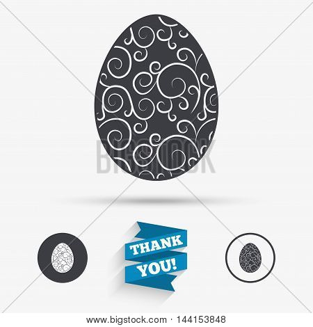 Easter egg sign icon. Easter tradition symbol. Flat icons. Buttons with icons. Thank you ribbon. Vector