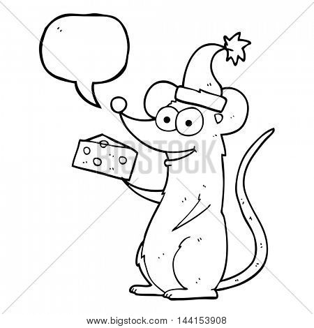 freehand drawn speech bubble cartoon christmas mouse