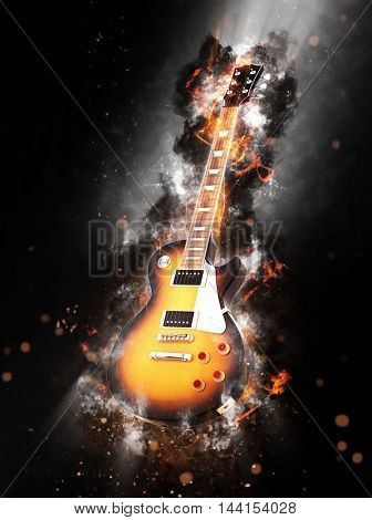 Fine art conceptual image of a flaming smouldering wooden guitar on a dark background with smoke and sparks. 3d Rendering.