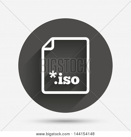 File ISO icon. Download virtual drive file symbol. Circle flat button with shadow. Vector