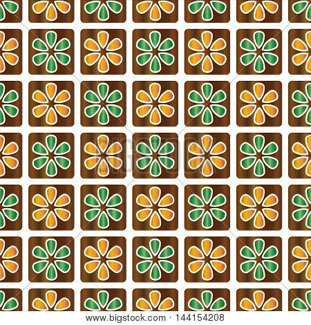 Decorative vector brown and green abstract floral background - square pattern