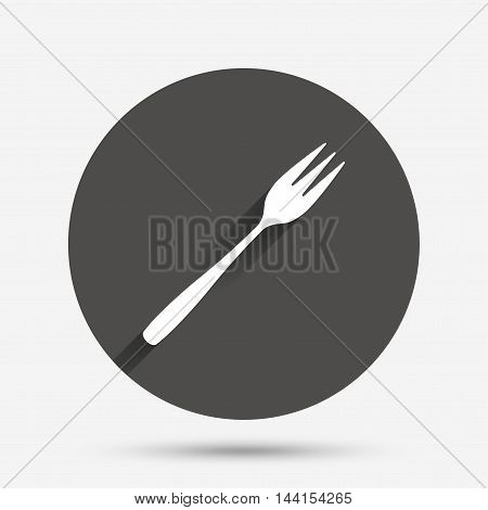 Eat sign icon. Cutlery symbol. Diagonal dessert trident fork. Circle flat button with shadow. Vector