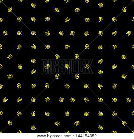 Skull Cross Bones Seamless Pattern. Skull Isolated on Black