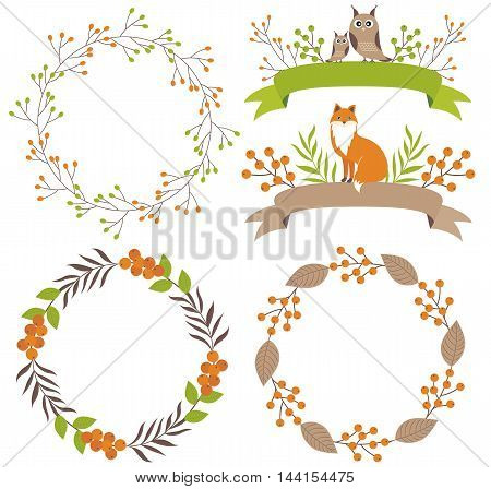 Vector woodland set with wreath, ribbons, fox and owl
