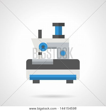 Sewing machine with blue spool of thread. Service and repair workshop, fashion clothes custom. Symbol tailoring atelier. Flat color style vector icon.