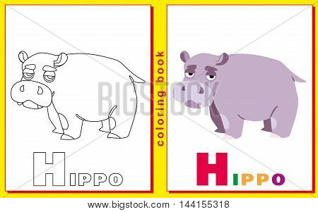 children's coloring book with letters and words. Litter H. Hippo. vector image