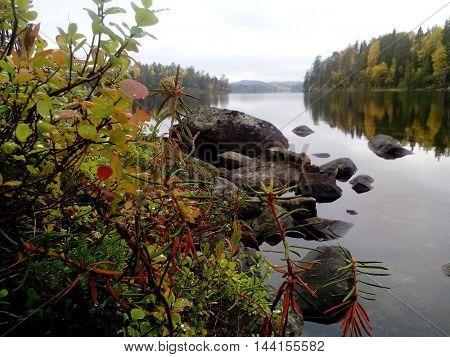 Lake Onega in Karelia in autumn day