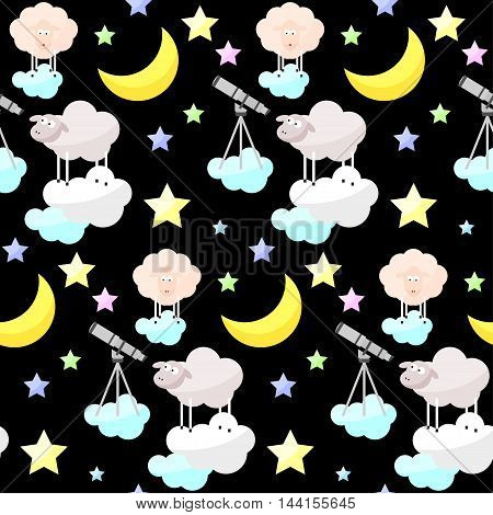 Childish Good Night Bright Funny Vector Seamless Pattern Background.