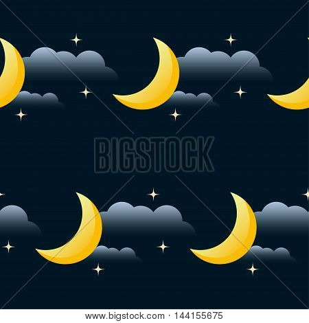 Good Night Vector Seamless Pattern Background. Cartoon Moon, Star And Cloud