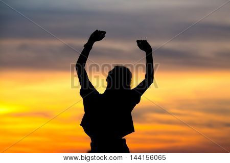 silhouette achievements successful love arm up man is success with sunrisewe do