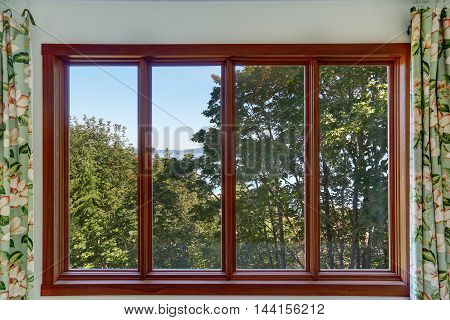 Close-up Of Large Four Pane Window With Summer Landscape.