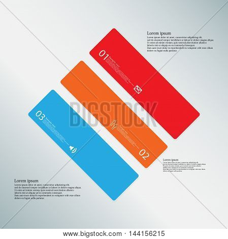 Rhombus Illustration Template Consists Of Three Color Parts On Light-blue Background